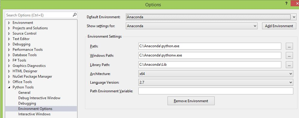 Setup Python (Anaconda) Environment in Visual Studio